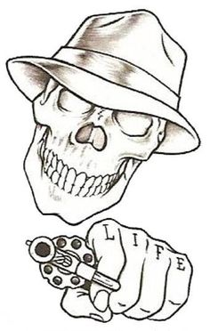 Easy Tattoo Drawings Beginners Tattoo prison stick skull | Design ...