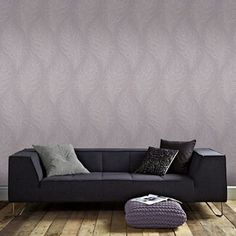 Graham & Brown Light Purple Quill Leaf Print Wallpaper | Debenhams