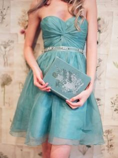Exquisite Organza Beaded Turqoise A-line Sweetheart Neckline Mini Prom/Homecoming Dress