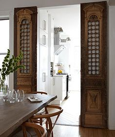 ethnic / colonial style sliding doors in a modern home