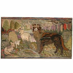 19th Century Pennsylvania hooked rug, Sheep Dog Overseeing  his Flock, lively and imaginative