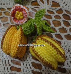 Gráfico do gomo da carambola - revista mania de arte (peguei apenas o gráfico do gomo, a montagem da carambola eu quem criei).         ... Magia Do Crochet, Crochet Cake, Crochet Fruit, Crochet Food, Diy Crochet, Crochet Flowers, Crochet Horse, Gifts For Kids, Needlework