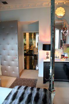 No zebra skin here: the bedroom door is tufted! - Miles Redd's bedroom, 2008.