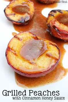 These Grilled Peaches with Cinnamon Honey Sauce is a wonderful dessert option when you're grilling this summer! | EverydayMadeFresh.com Fruit Recipes, Dessert Recipes, Cooking Recipes, Healthy Recipes, Grill Recipes, Healthy Dessert Options, Water Recipes, Barbecue Recipes, Sweet Recipes