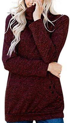 Turtleneck Long Sleeve Pullover Shirt Loose Sweat Shirt, Top Mode, Basic Hoodie, Leggings, Tie Dye T Shirts, Chic Dress, Sweater Jacket, Pullover Sweaters, Long Sleeve Shirts