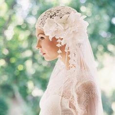 Tapa nupcial, velo de novia, velo de tul de seda, de 1920 casco, peluca nupcial, velo de novia, encaje francés, estilo Manon 1918