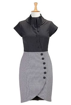 Curved button front faux-wrap dress from eShakti
