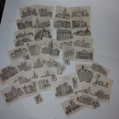 Antique ephemera Vintage paper supplies 10 Old book page small illustrations encyclopedia clippings buildings lot c1900