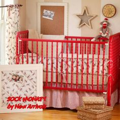 if i have a little boy, i'm pretty sure sock monkeys are what's up.  the red jenny lind crib is making me drool