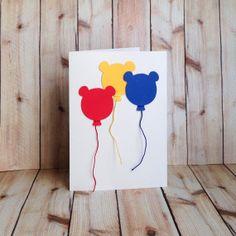 Kids Birthday Card, Bear, Balloons, Handmade Card For Child, on Etsy, $4.50