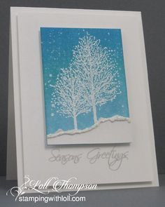 Stamping with Loll: Glittery Snow Scene  distress ink tumbled glass, broken china, peacock feathers,salty ocean starting with lightest in bottom right corner. white ep for trees