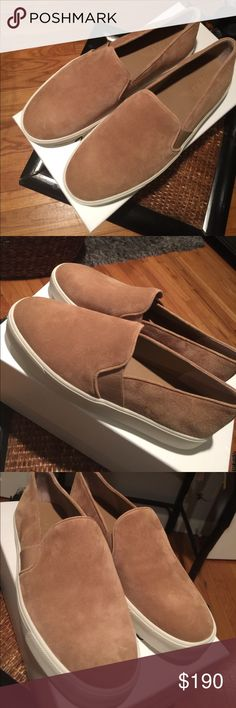 Vince Suede Slip On Sneakers BRAND NEW, NEVER WORN Tan suede slip on sneakers from the designer Vince Vince Shoes Sneakers