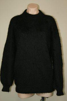 Oversized Bolivia Black Fuzzy 100% Alpaca Wool Punk Grunge Hipster Sweater sz L #WoolStreet #Crewneck