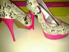 Neon Pink Custom Designed Betty Boop Heels  by LaCarterCreations, $75.00