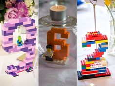 Lego-inspired Table Numbers - Lego Themed Wedding Invitations and Other Decoration Ideas - EverAfterGuide