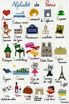 Alphabet with all things French アルファベット、フランス語 French Teacher, Teaching French, Teaching Spanish, Tour Eiffel, French Alphabet, Material Didático, French Classroom, I Love Paris, Thinking Day