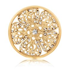 Nikki Lissoni Flower Fantasy Coin (large, gold tone, violet Swarovski® Elements)