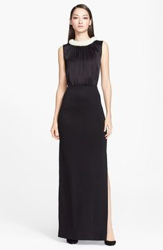 """Free shipping and returns on St. John Collection Liquid Satin & Shimmer Milano Knit Gown at Nordstrom.com. <p><B STYLE=""""COLOR:#990000"""">Pre-order this style from the Fall 2014 collection! Limited quantities. Ships as soon as available. You'll be charged only when your item ships.</b></P><br>A decadent beaded collar draws the eye toward the face in this jaw-dropping gown. The meticulously pleated satin bodice is drawn in at the waist above a metallic-knit column skirt for a lovely…"""