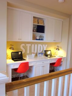 An upstairs hallway turned study area! Built-ins and pops of bright colors give ample storage and stylish accents.