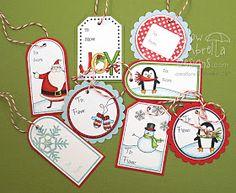 Yellow Umbrella Designs: Christmas gift tags and tin