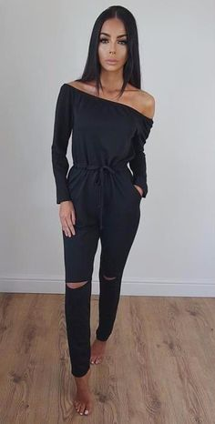 where to get the knee ripped off shoulder jumpsuit #omgoutfitideas #fashionblog #trending