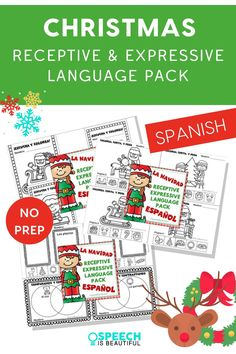 Christmas NO PREP Language Therapy packet in Spanish: This print and go Spanish receptive and expressive language pack includes coloring sheets, games, sorting and compare and contrast, answering YES/ NO questions, and more. Perfect for working with your bilingual students. - Speech is Beautiful