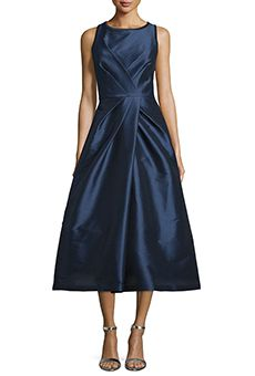 Monique Lhuillier ML Sleeveless Crisscross Pleated Gown - ShopStyle Evening Dresses Mother Of Bride Outfits, Mother Of Groom Dresses, Mothers Dresses, Bride Groom Dress, Mother Of The Bride Dresses Tea Length, Mother Of The Bride Fashion, Groom Wear, Mob Dresses, Tea Length Dresses