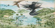Anton Lehmden (Austrian, b. 1929), Landschaft mit Vögeln und Fischen [Landscape with birds and fish], 1966. Watercolour on paper, 10.5 x 19.8 cm. Eugene Ionesco, Color Pop, Colour, Anton, 3, Austria, Surrealism, Original Art, Folk