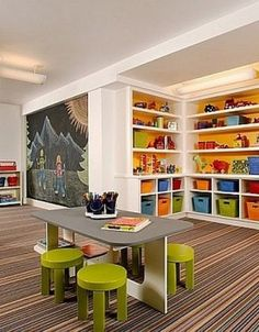 Would love this for my home daycare/preschool when we have kids! Kids Play Area School Daycare Design, Pictures, Remodel, Decor and Ideas / love the feel - Home Decorations Daycare Design, Playroom Design, Playroom Decor, Playroom Ideas, Children Playroom, Kid Playroom, Kids Rooms, Chalkboard Wall Playroom, Playroom Layout