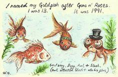 Random Thoughts of a Bored Artist: 2.0 Day 108 - Guns n' Goldfish