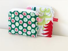 Set of 2 Small Pouches - Christmas Print Zipper Change Pouch - Fabric Pouch - Fun Xmas Coin Pouch - Gift Card Holder - Treasures Pouch by BlackcatmeowDesigns on Etsy