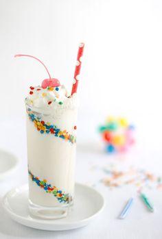 Skinny confetti cake batter milkshake