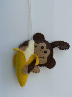 Felt Monkey Ornament with Banana by FeltLikeIt1 on Etsy, $16.00