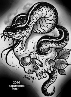 Photo, You are in the right place about Serpent tattoo giapponese Her Skull Tattoo Flowers, Skull Tattoos, Animal Tattoos, Black Tattoos, Body Art Tattoos, Sleeve Tattoos, Skull Tattoo Design, Tattoo Designs, Tattoo Sketches