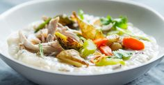 Turn your Thanksgiving leftovers into Brandon Jew's jook, a warming Chinese rice porridge studded with extra turkey meat, roasted vegetables and scallions.