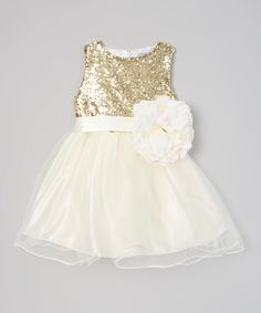 Just Couture Ivory & Gold Sequin Flower Girl Dress - Infant, Toddler & Girls by Just Couture #zulily #zulilyfinds