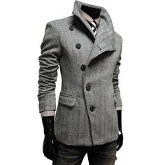 Mens Casual Wool Coat