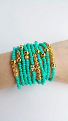 Green turquoise filigree bracelet filgree jewelry by TresJoliePT Seed Bead Jewelry, Bead Jewellery, Beaded Jewelry, Jewelry Bracelets, Bohemian Bracelets, Handmade Bracelets, Handmade Jewelry, Summer Bracelets, Layered Bracelets