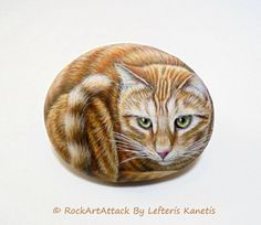 Orange Kitty Hand Painted Stone   Is Painted with by RockArtAttack