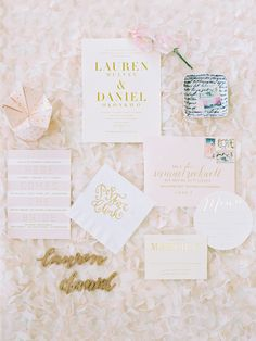 Blush and Gold Cootie Catcher Wedding Invitation Suite | Abby Jiu Photography https://www.theknot.com/marketplace/abby-jiu-photography-washington-dc-613164 | Bella Figura | Winifred Paper | Laura Hooper Calligraphy
