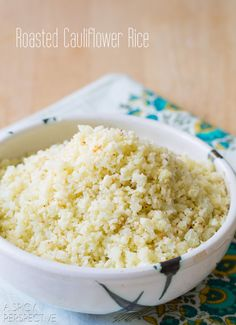 """Roasted Cauliflower Rice – This """"rice"""" recipe is a wonderfully healthy substitute for those on a grain free diet. But everyone will love this delish low carb side dish! Gluten Free Sides Dishes, Low Carb Side Dishes, Healthy Side Dishes, Healthy Dinners, Paleo Recipes, Low Carb Recipes, Cooking Recipes, Side Recipes, Detox Recipes"""