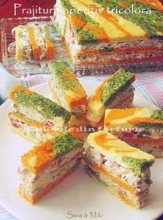 Pastry ~ tricolor colors of dish appetizer Amazing Food Decoration, Salad Design, Antipasto, Fresh Rolls, Finger Foods, Catering, Food And Drink, Appetizers, Favorite Recipes
