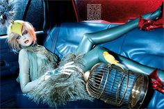 'Magnificent Excess': Gabriella Calthorpe by Miles Aldridge for Vogue Italia, December 2006 in Alexander McQueen Fall Winter 2006 (submitted by hautekills) Fine Art Photography, Fashion Photography, Gabriella Wilde, Miles Aldridge, The Caged Bird Sings, Tim Walker, Wild Child, Colorful Fashion, 3d Fashion