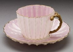 Ott and Brewer, Cactus blossom teacup and saucer, c.1883-90
