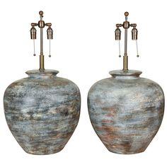 Pair of Very Large Ceramic Lamps