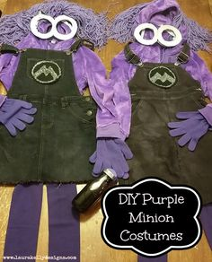 DIY Purple Minion Costumes from Despicable Me 2 - Laura Kelly's Inklings Despicable Me Halloween Costume, Purple Minion Costume, Minion Halloween, Minion Party, Diy Halloween Costumes, Holidays Halloween, Costume Ideas, Halloween Stuff, Halloween Ideas