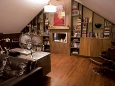 "This would be an amazing office for me!!!! Featured in Man Caves episode ""60's Library Cave"""