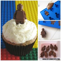 A silicone ice cube mold turns out the best little chocolate LEGO minifigures.
