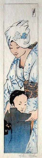 blue - Mother and Child 1901 - Helen Hyde Japanese Prints, Japanese Art, Geisha Art, Portraits, Japanese Painting, Baby Art, Illustrations And Posters, Mother And Child, Print Artist
