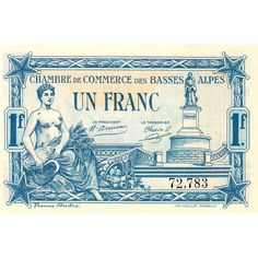 BASSES-ALPES - PIROT 20-2A - 1 FRANC - 1917 Bank Account Balance, Ghibli, Railway Posters, Magical Jewelry, Ephemera, 1, Stamp, Typography, Lettering